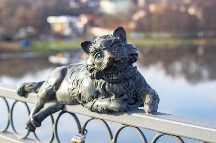 Бронзовий кіт на перилах Київського мосту у Вінниці. Фото: Сергій Бахмутов